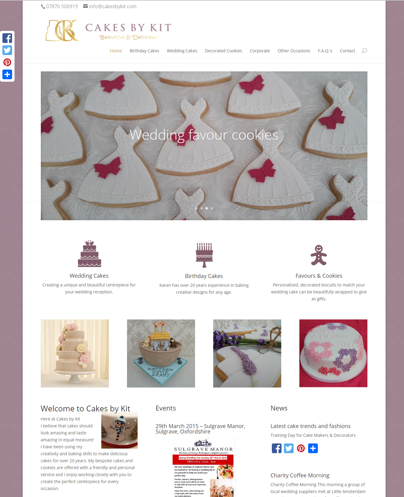 Cakes by Kit website